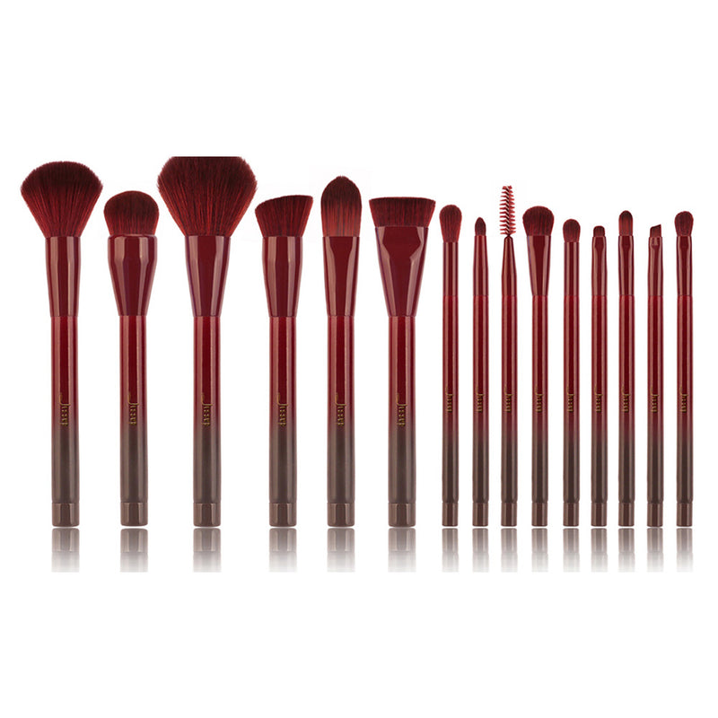 Wine Red 15pcs Wooden Makeup Brushes Set