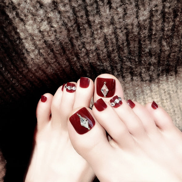 Red Wine Toe False Nails With Artificial Diamond - 24 Pcs