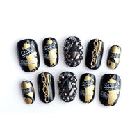 New Black And Gold Fake Nails 24pcs
