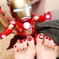 Cute Red Heart Toe Fake Nails