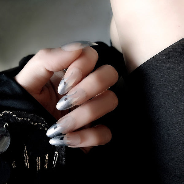 Silver Flame Long Fake Nails 24pcs