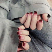 Red Wine Gradient Color Long Fake Nails 24 Pcs