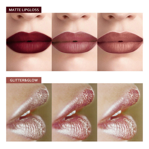MIXDAIR 6 Colors Matte + Glitter Liquid Lipstick