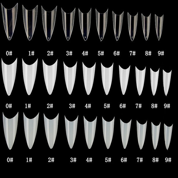 500pcs Stiletto French False Nail Tips - 10 Sizes