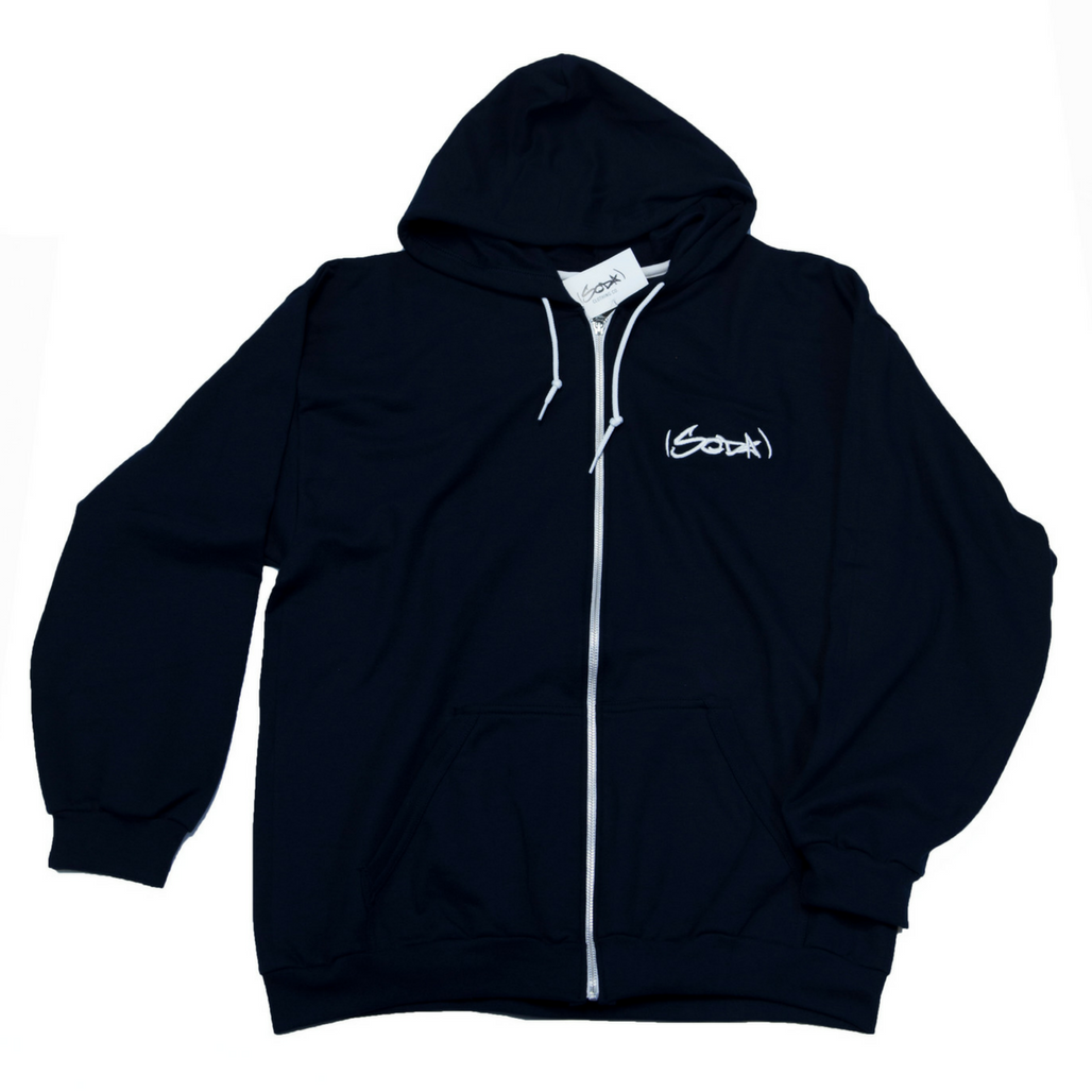 SODA Full-Zip Hoodie NAVY/WHITE
