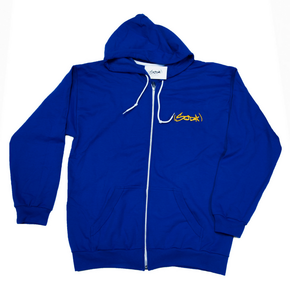 SODA Full-Zip Hoodie ROYAL/GOLD