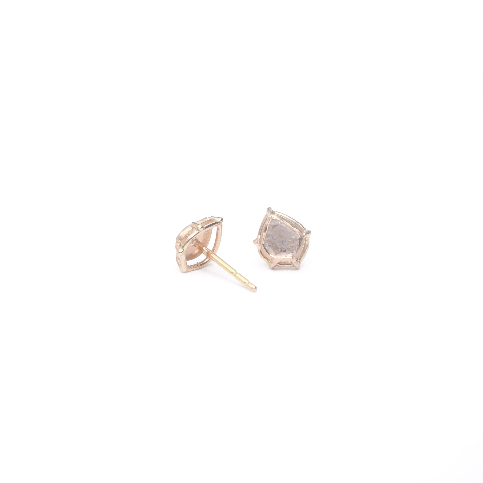 Foggy Diamond Slice Earrings