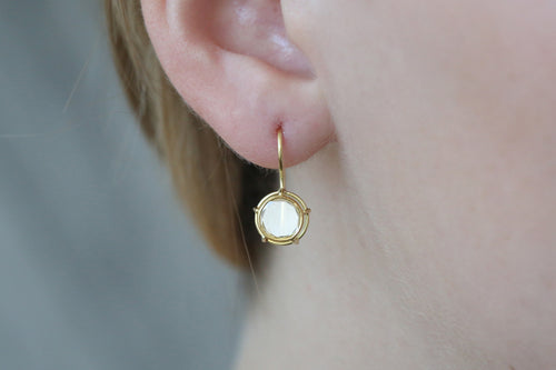 Portrait Cut Round Diamond Drop Earrings