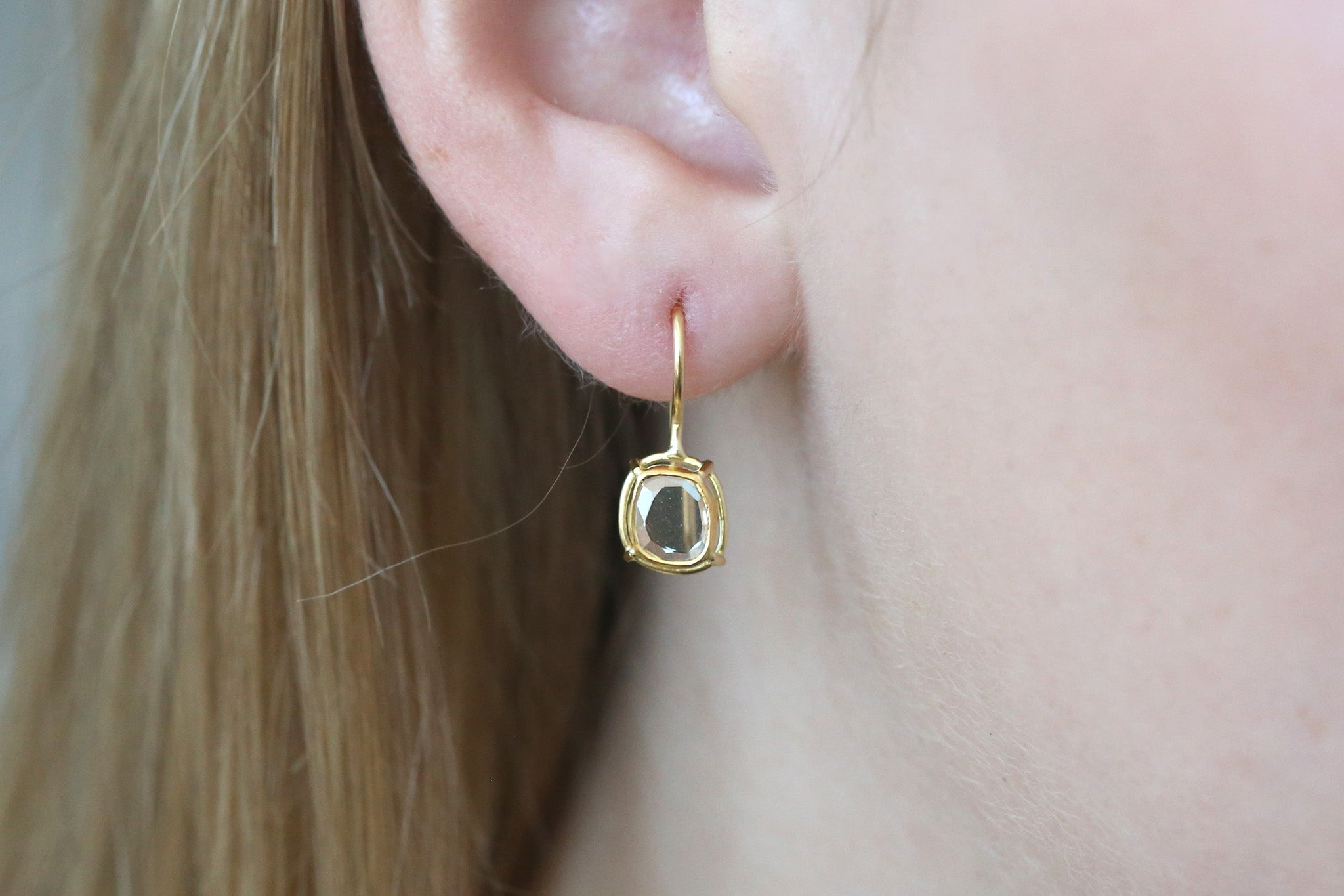 Portrait Cut Diamond Drop Earrings