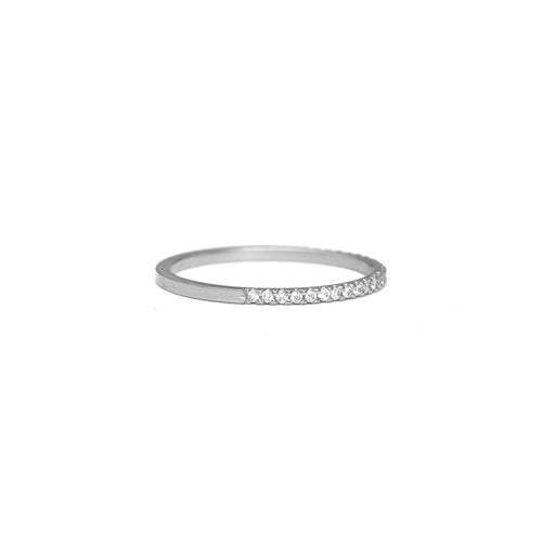 Pavé Diamond Half Eternity Ring - 1mm