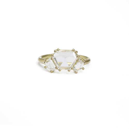 Hexagonal Three Stone Ring