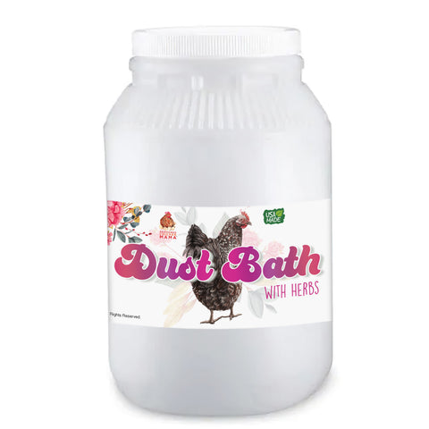 Dust bath with herbs for pet chickens