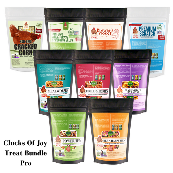photo of clucks of joy treat bundle pro including cracked corn, wheat seeds, brewer's yeast, mealworms, black soldier fly larvae, powerhen, and bee a happy hen, and scratch