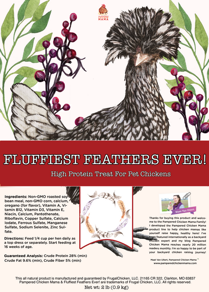fluffiest feathers ever chicken treat label