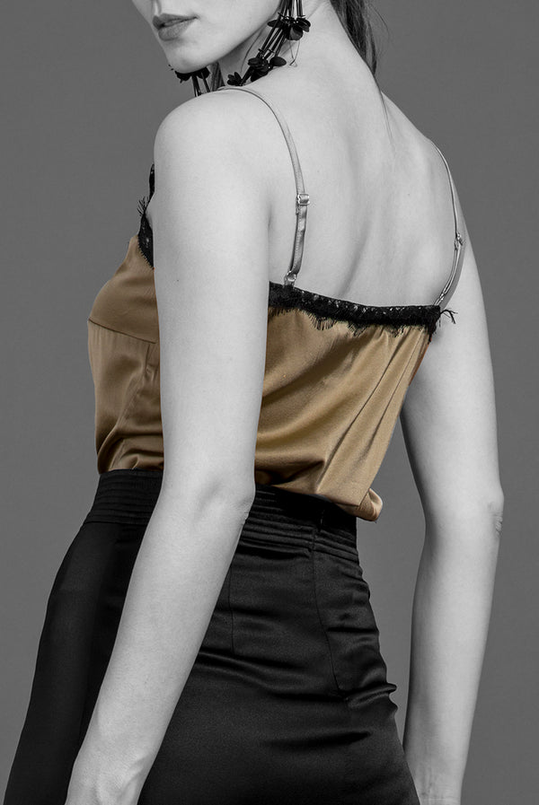 """LINDA"" EVENING TOP IN SILK SATIN WITH LACE TRIM"