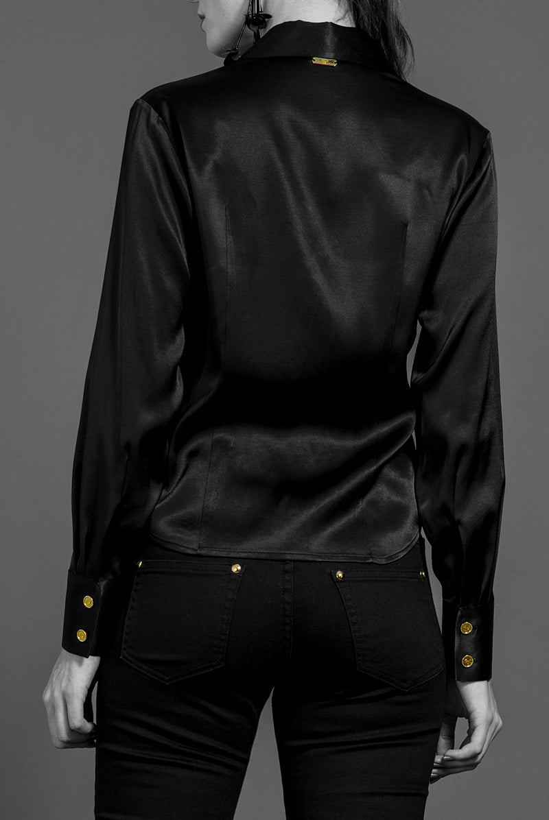 """DONATELLA"" SATIN BLOUSE SHIRT"