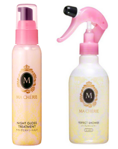 SHISEIDO MACHERIE Night Gloss Treatment and MACHERIE moisturizing hair spray