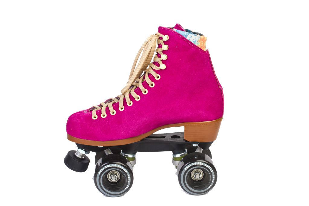 Moxi skates lolly fuchsia gummy wheels profile view