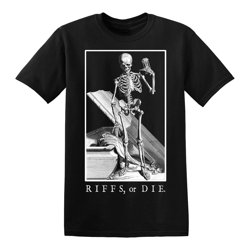 RIFFS OR DIE Hourglass T-Shirt printed on 100% cotton.