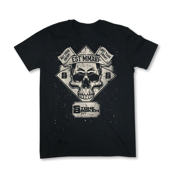 MENS NOT YOUR ENEMY SKULL TEE (BLACK)