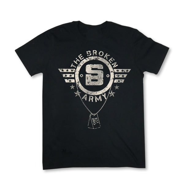 MENS BROKEN ARMY MKII TEE (BLACK)
