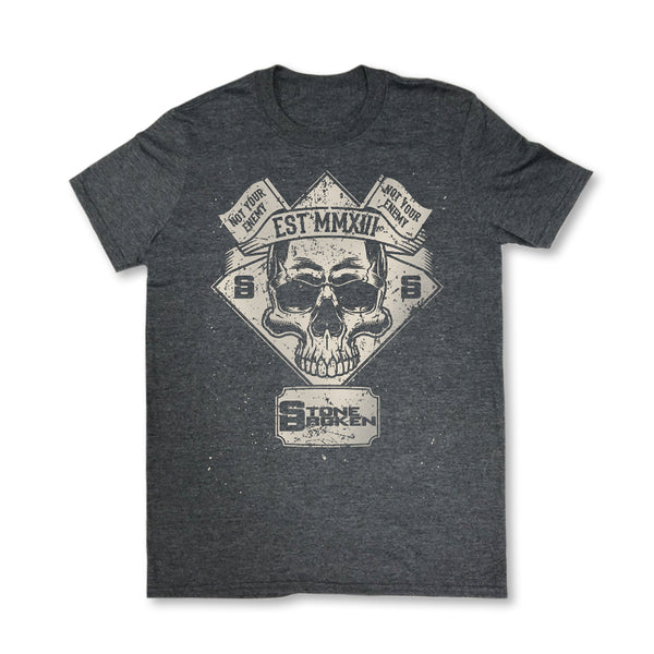 MENS NOT YOUR ENEMY SKULL TEE (DARK HEATHER)