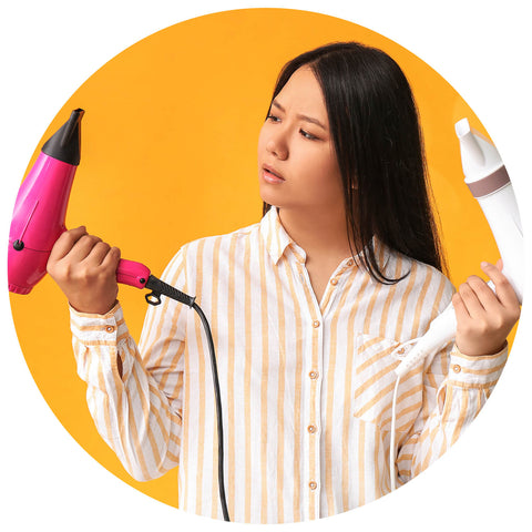 girl using blow dryer limit the use if it