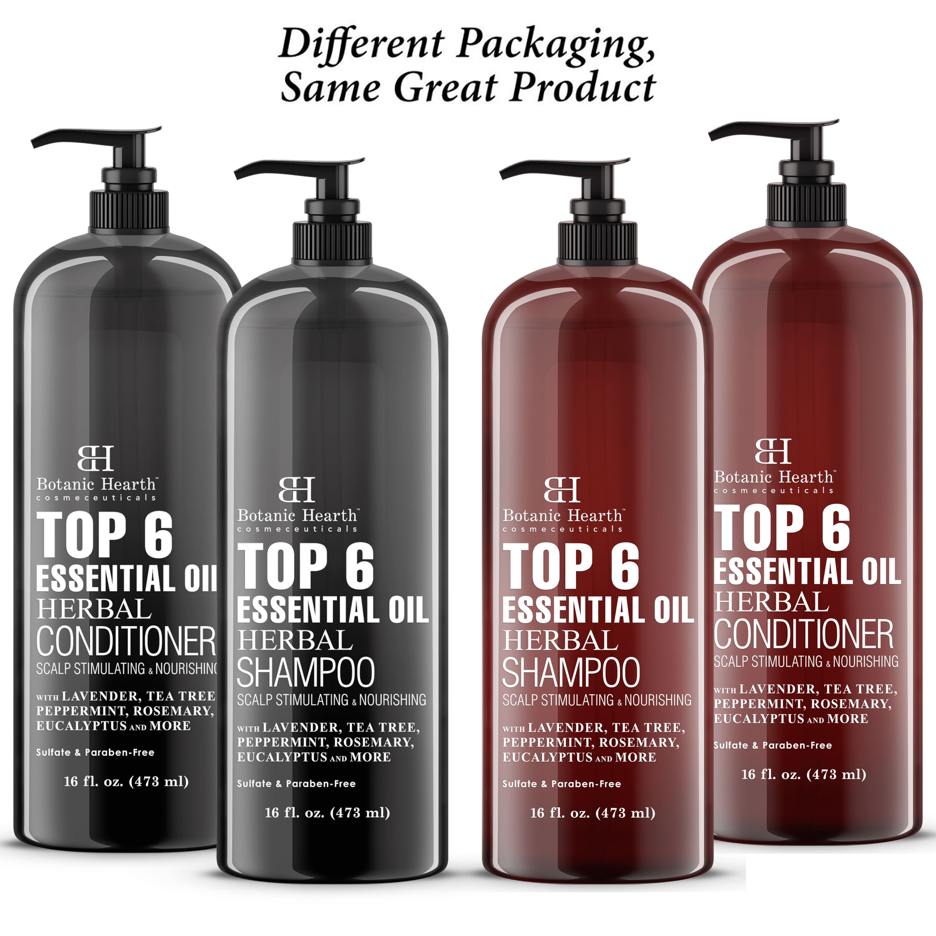 Top 6 Essential Oils Herbal Shampoo And Conditioner set amber and black color bottle  different packaging