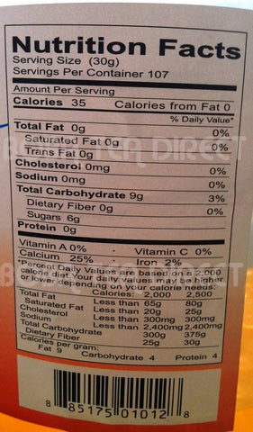 Please see the screenshot taken below for additional nutritional information and nutrition facts.