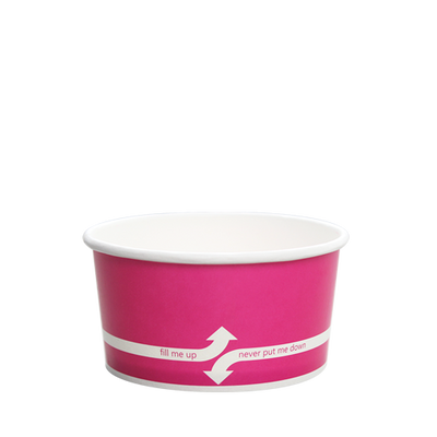 6oz Hot/Cold Paper Food Containers – Pink (96mm)