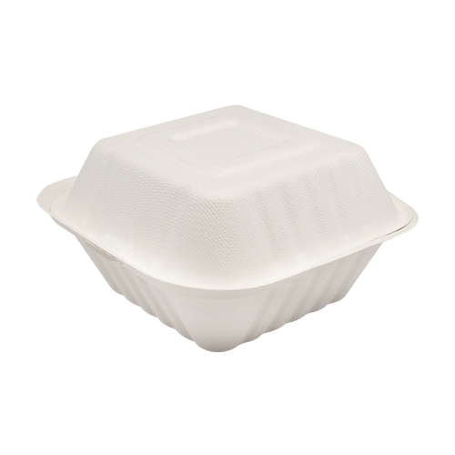 "6""x6"" Compostable Bagasse Hinged Containers"