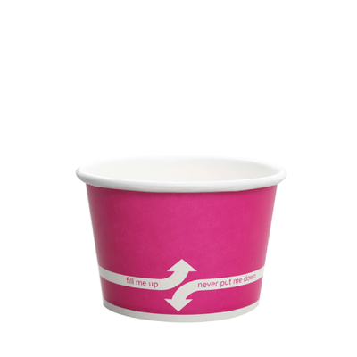 8oz Hot/Cold Paper Food Containers – Pink (95mm)