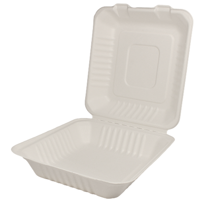 "8""x8"" Compostable Bagasse Hinged Containers"