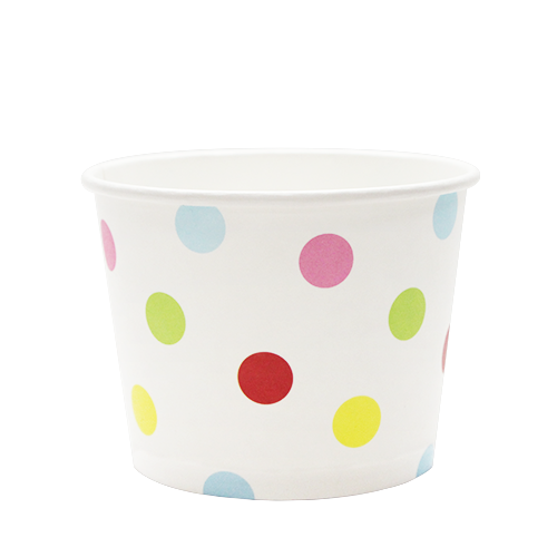 12oz Hot/Cold Paper Food Containers – Dots (100mm)