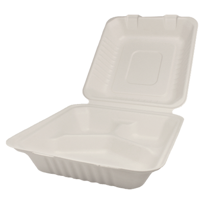"8""x8"" Bagasse Hinged Containers – 3 Compartments"