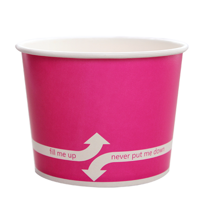 16oz Hot/Cold Paper Food Containers – Pink (112mm)