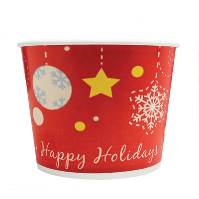 16oz Hot/Cold Paper Food Containers – Holiday (112mm)