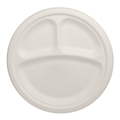 Eco-friendly 9″ Bagasse Round Plates – 3 Compartments Case