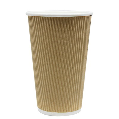 16oz Ripple Paper Hot Cups – Kraft (90mm)