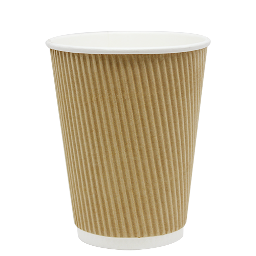 12oz Ripple Paper Hot Cups – Kraft (90mm)