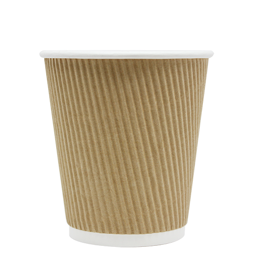 10oz Ripple Paper Hot Cups – Kraft (90mm)