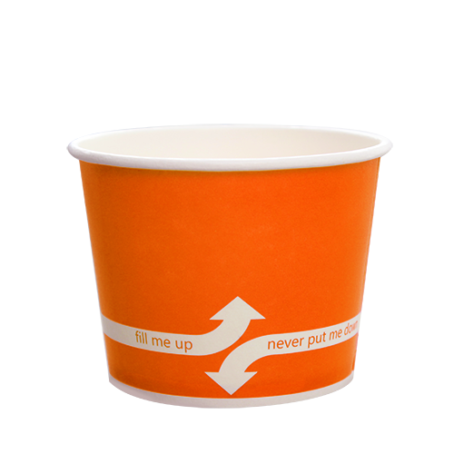 12oz Hot/Cold Paper Food Containers – Orange (100mm)