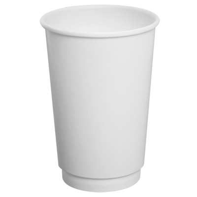 16oz Insulated Paper Hot Cups – White (90mm)