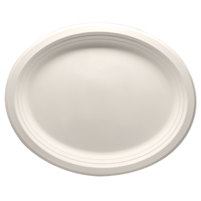 Eco-friendly 12.5″ x 10″ Bagasse Oval Plates