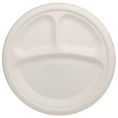 Eco-friendly 10″ Bagasse Round Plates – 3 Compartments Case