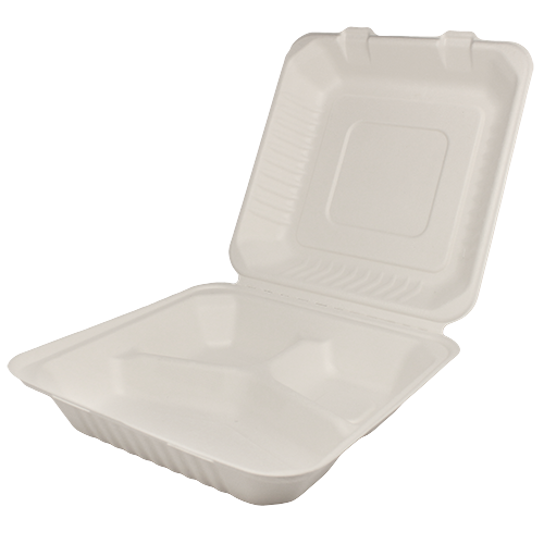 9″x9″ Bagasse Hinged Container – 3 Compartments