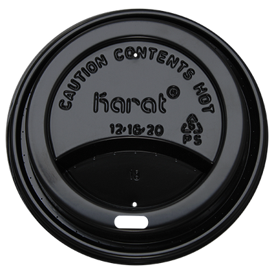 10-24oz Sipper Dome Lids – Black (90mm