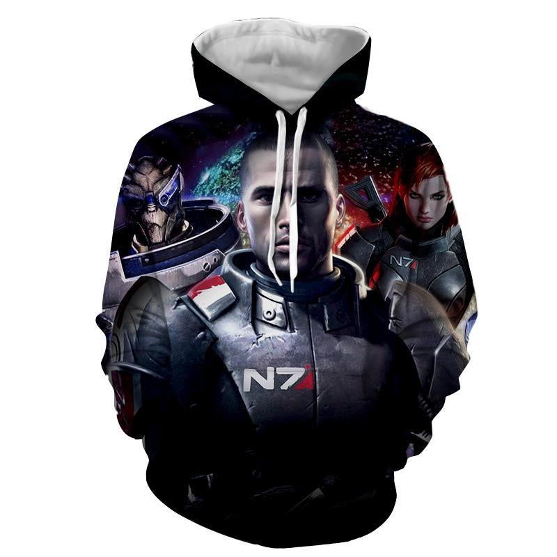 Mass Effect - John & Jane Shepard and Garrus Vakarian   Printed Hoodie