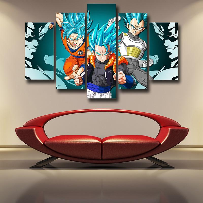 Goku Vegeta & Gogeta Canvas SSJ God Blue - Anime Wise