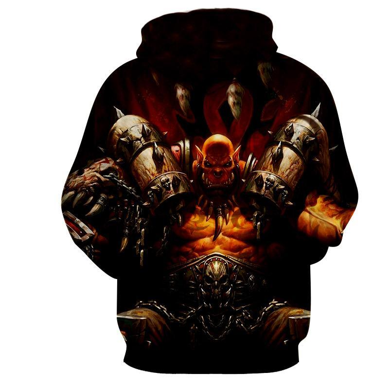 World of warcraft - Grommash Hellscream : Printed Hoodie - Anime Wise